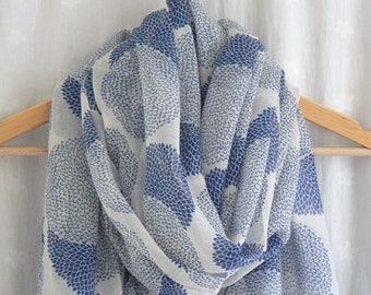 Cream and Blue Dahlia Flower Print Scarf Wrap Shawl Ladies Women's Floral Pattern