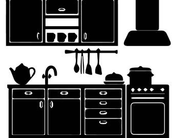 kitchen home modern counter architecture cabinets appliance renovation svg eps png vector clipart