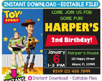 SALE 60% OFF: Toy Story Invitation, Toy Story Birthday Invitation, Toy Story Invitation Instant Download, Toy Story Party, Editable Invite