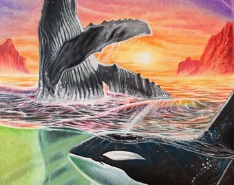 Whales Surfacing.  Free Shipping!