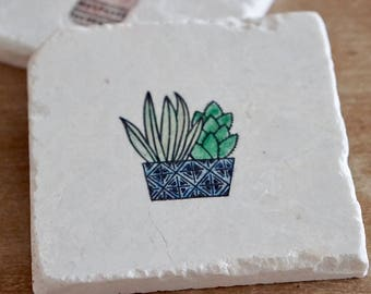 Marble Cactus & Succulent Coaster// Stamped Tumbled Marble Coaster// Watercolored Coaster//Hand painted Coasters// set of 2-4