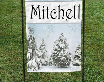 "Personalized Yard Art, Blue Christmas Winter Wonderland Trees Garden Flag , Christmas Yard Art, 12""x18"""