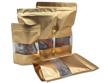 100Pcs Gold Stand Up Aluminum Foil Lines Ziplock Self Seal Food Storage bag with Window Doypack Coffee Tea Snack Party Pouch Bag