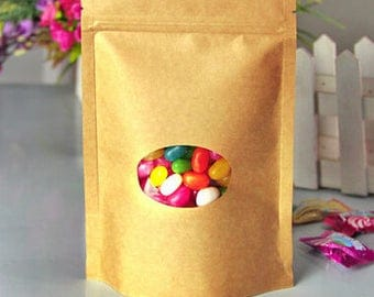 50pcs Kraft Paper packaging bag with window stand up Zipper packing bags zip lock retailer package resealable seal bag