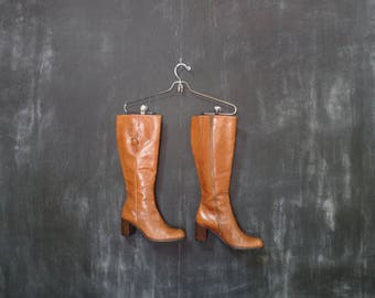 VTG Liz Claiborne Knee High Brown Leather Boots/ Size 6/ 6.5