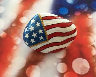 Patriotic American Flag Hand Painted Rock-  Labor Day, Memorial Day, Veterans Day, 4th of July (amerflag1)
