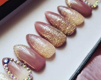 Vanilla Latte Nail Set- fall nails, press on nails, reusable nails, fake nails, false nails