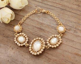 Vintage Wedding Bracelet, Bridal Bracelet, Swarovski Wedding Bracelet, Wedding Jewelry, Statement Bracelet, Bridal Jewelry, Great Gatsby