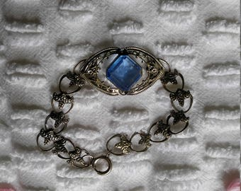 Art Deco style bracelet blue and silver