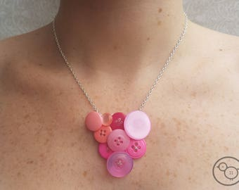Unique pink button necklace, up-cycled necklace, statement jewellery.
