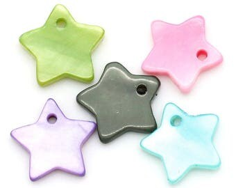 Lovely little green mother-of-Pearl star charm