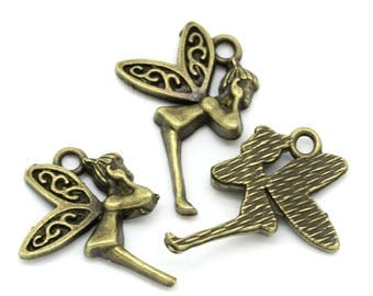 Set of 3 small charms bronze color fairy