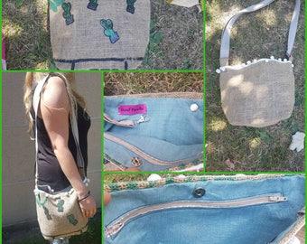 Recycled burlap bag.