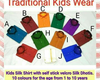 Kids silk shirt and dhoti