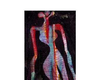 Aceo. Original mini painting.Pop art. Mini painting. Art Deco. Aceo card.