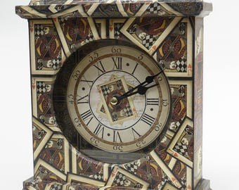 Playing Card Clock.  Unique Clock. Carriage Clock. Playing Cards. Wooden Clock. Mantel Clock. Games Room Clock.