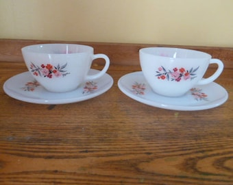 Vintage Fire King Primrose Design Cups and Saucers-Very Nice!!