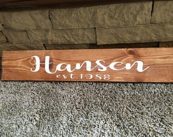 Name Established Sign for Wedding Gift