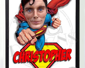A4 Personalised Novelty Superman Caricature / Cartoon picture from photograph
