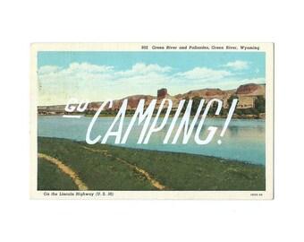 Screenprinted vintage postcard - Go Camping!