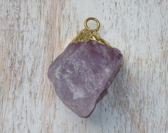 Natural Purple Quartz Gold Electroplated Pendant, Quartz Charm, Green Quartz Charm