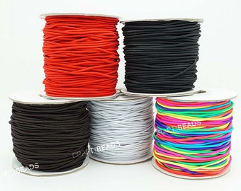 1MM 1.2MM 1.5MM 2MM 3MM - Nylon Coated Round Elastic Cord Stretch Beading Mala Artisan String