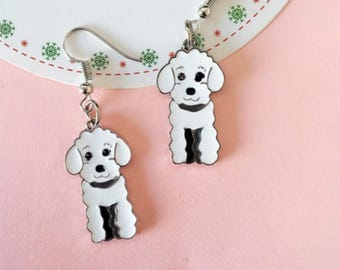 White Poodle earrings.