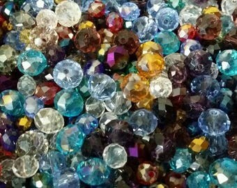 Set of 50 mixed 3-8mm Crystal faceted beads