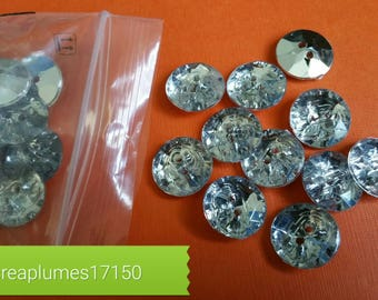 Set of 50 rhinestone buttons acrylic 15mm