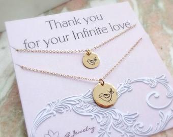 Mother & Daughter Necklace SET, Bird necklace, back to school, kindergarten, preschool gift, baby bird, handstamped silver, otis b