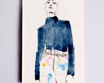 Linear #2 Fashion Illustration Print, Fashion Wall Art, Fashion Sketch, Fashion Sketch, Fashion Watercolour Print, Fashion Drawing