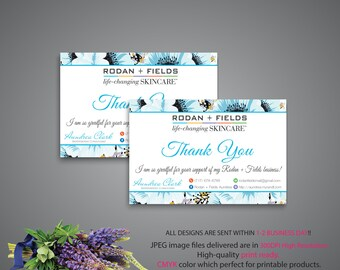 Rodan and Fields Thank you Card, Rodan and Fields Marketing, Custom Thank You Card, R+F PERSONALIZED, Floral Card RF, Printable RF07