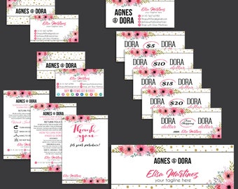 Agnes Dora Marketing Kit, Agnes and Dora Bundle, PERSONALIZED Agnes Dora Cards, Agnes Dora Marketing, Floral Flower Cards, Printable AG12