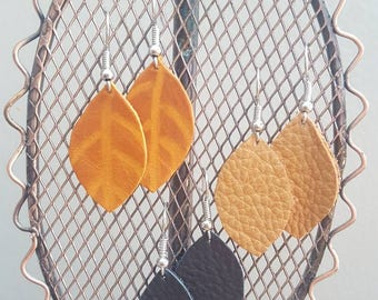 Small Leaf Leather Earrings