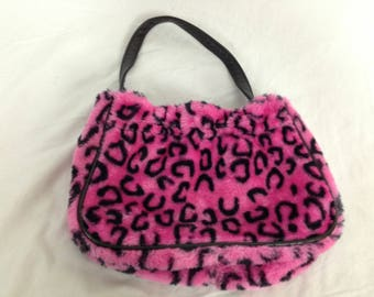 Lil fuzzy furry pink cheetah / leopard purse