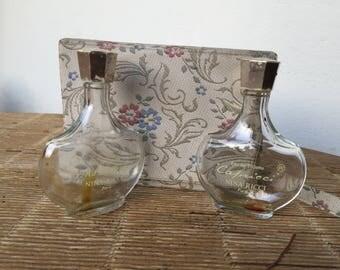 2 anciens flacons à parfum Nina Ricci,Capricci & L'air du temps, pochette voyage_old perfume bottles, travel pouch_alte Parfümflaschen