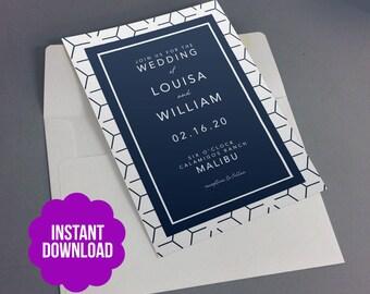 Navy 5x7 Modern Wedding Invitation