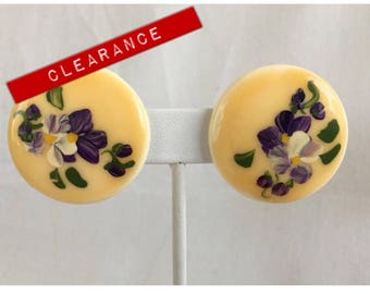 CLEARANCE Hand Painted Pansy Large Yellow Pierced Vintage Earrings