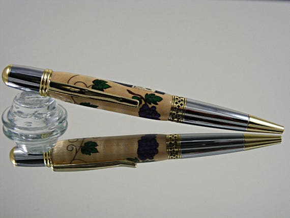 Inlayed Handcrafted Pen in Gold and Chrome with Wine Inlay