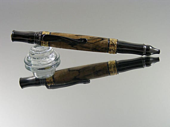 Nouveau Style Ink Pen in Gold and Gun Metal with Spalted Clear Maple