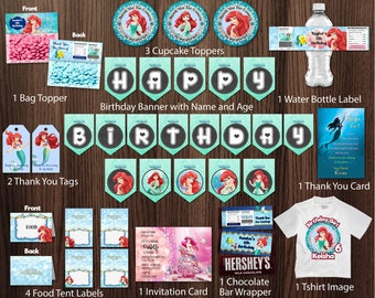 Personalized The Little Mermaid Princess Ariel Birthday Party Kit Package Bundle Banner Invitation Bag Topper Printable DIY - Digital File