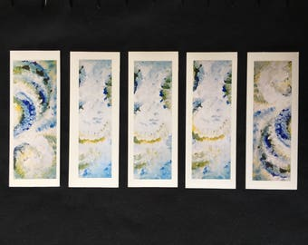 Tranquility: A set of 5 relaxing bookmark greetings cards (blank inside) with envelopes