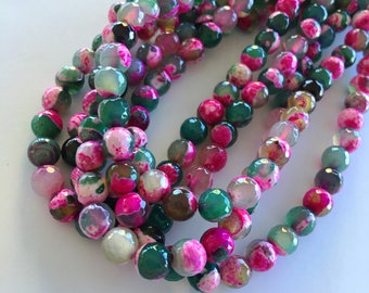 "8mm Round Faceted Dyed Natural Two Tone Fire Agate Beads (Pink & Green/Rose Garden) - 47 pieces / 15"" strand"