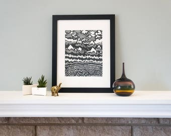 Misty Mountain Hop - Handmade Woodcut Print with Wilderness, Mountain Scenery for Your Home Decor! Woodblock Print by DinoCat Studio