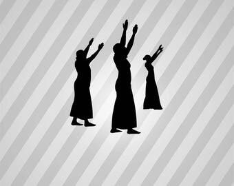 praise dancers Silhouette - Svg Dxf Eps Silhouette Rld RDWorks Pdf Png AI Files Digital Cut Vector File Svg File Cricut Laser Cut