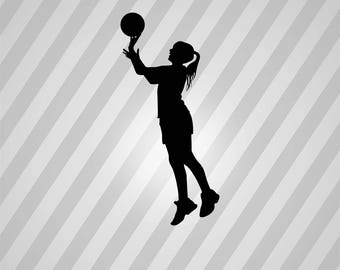 Girl Basketball Silhouette Female Basketball Player - Svg Dxf Eps Silhouette Pdf AI Files Digital Cut Vector File Svg File Cricut Laser Cut