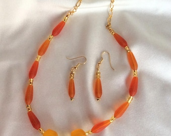Sea Glass Necklace in orange and yellow