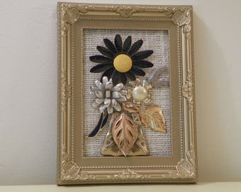 Jewelry art floral picture/Singular Sunflower vintage jewelry art/unique home decor/OOAK