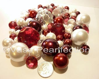 95 Burgundy Pearls and White Pearls in Jumbo & Assorted Sizes with Gems Vase Fillers for Centerpieces