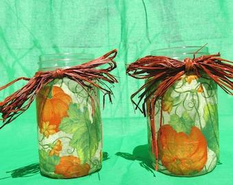 Decoupaged jar with raffia straw bow